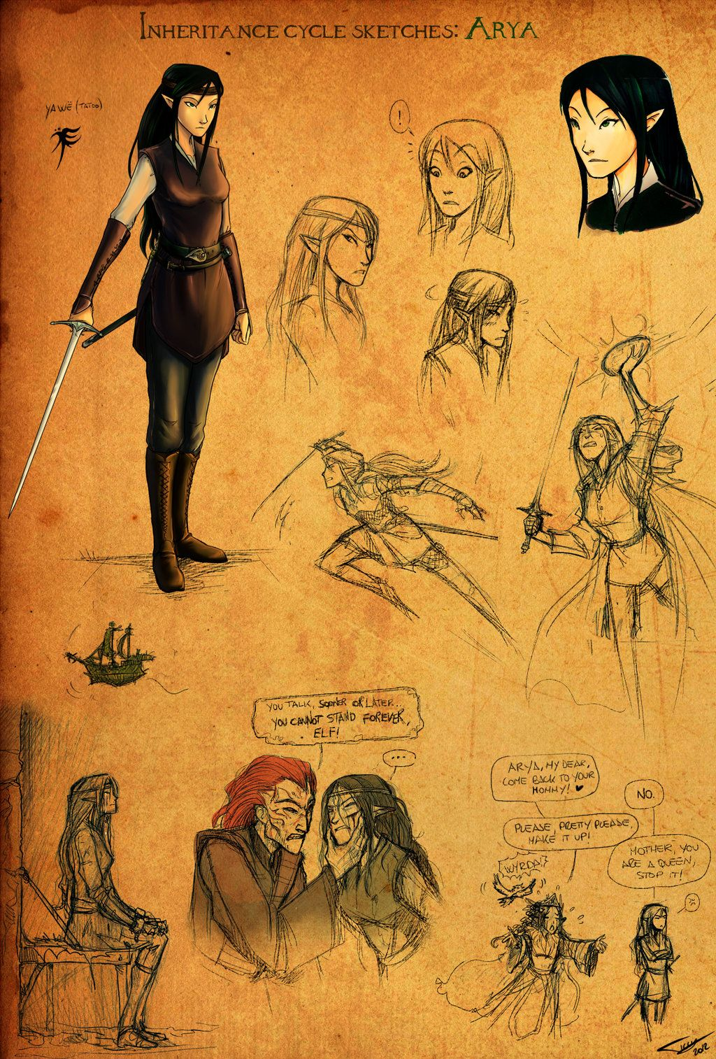 Eragon Book Characters Arya Sketches by Ticcy...