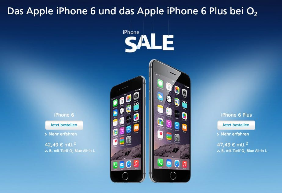 """iPhone Sale bei O2: iPhone 6 und iPhone 6 Plus günstiger! - https://apfeleimer.de/2015/08/iphone-sale-bei-o2-iphone-6-und-iphone-6-plus-guenstiger - SALE: Apple iPhone bei O2 billiger – 120 Euro Online-Rabatt und 180 Euro Aktionsrabatt – iPhone 6 und iPhone 6S Plus sofort lieferbar. Aktuell findet beiO2 eine iPhone Aktion statt, die sich sehen lassen kann. Unter dem Namen """"iPhone Sale"""" scheint der Netzbetreiber die ..."""
