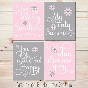 Pink Gray Nursery Decor Baby You Are My Sunshine Art Prints Toddler S Room Wall Set Of 4 Kids 1027 Pinterest