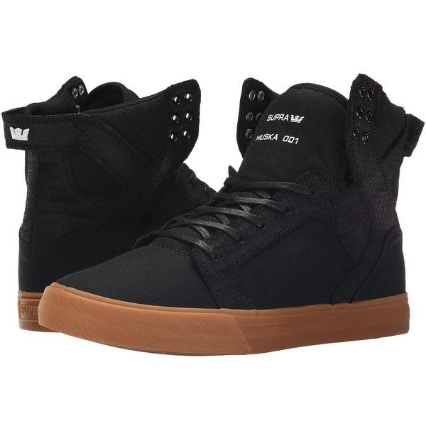 Supra Skytop (Black/Gum) Men's Skate Shoes ($105) ❤ liked on Polyvore featuring men's fashion, men's shoes, men's sneakers, mens black cap toe shoes, mens black monk strap shoes, mens skate shoes, mens black leather shoes and mens monk strap shoes