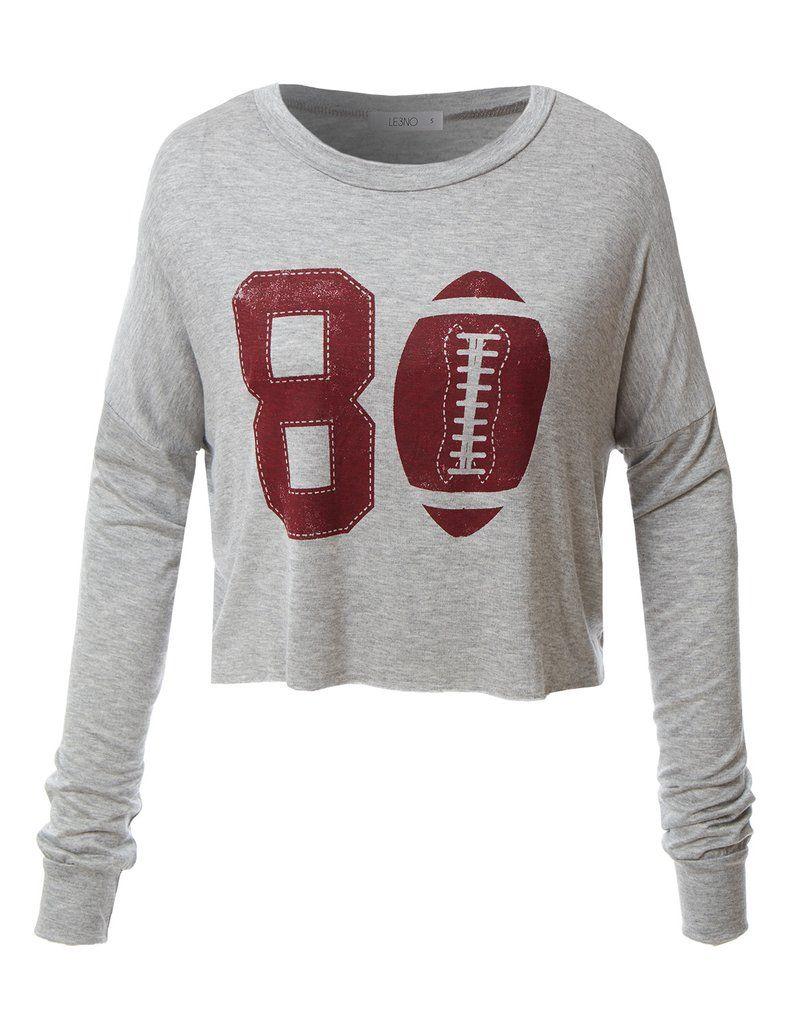 9e18ea8f346 LE3NO Womens Oversized Long Sleeve Football Graphic Crop Top ...