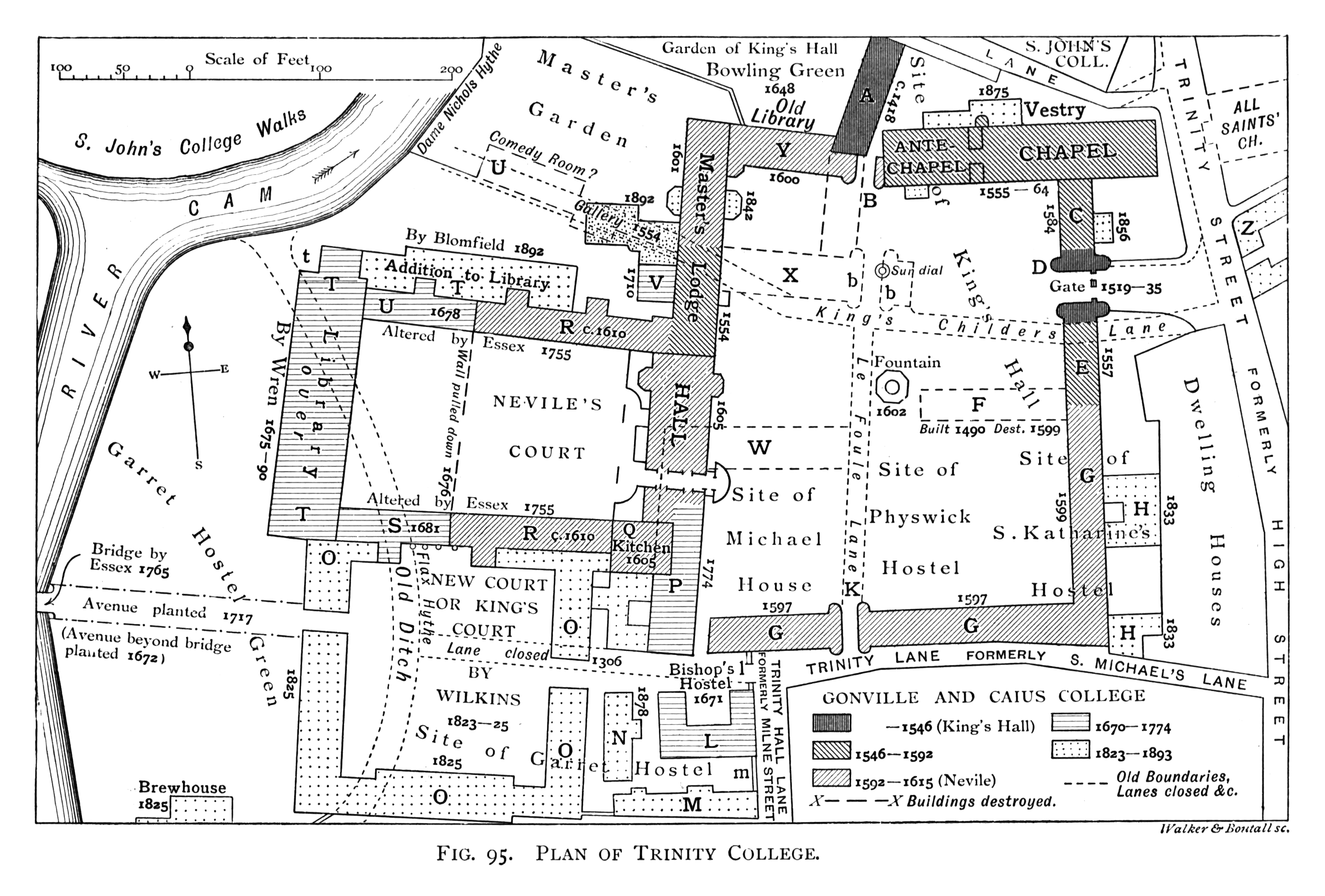 Historical Plan Of Trinity College Cambridge 1897 The