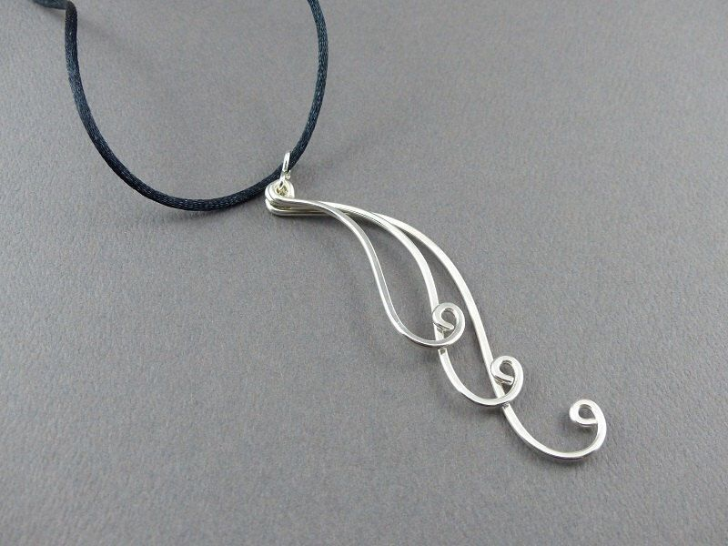Wave Sterling Silver Wire Pendant - Sterling Silver Wire Jewelry ...