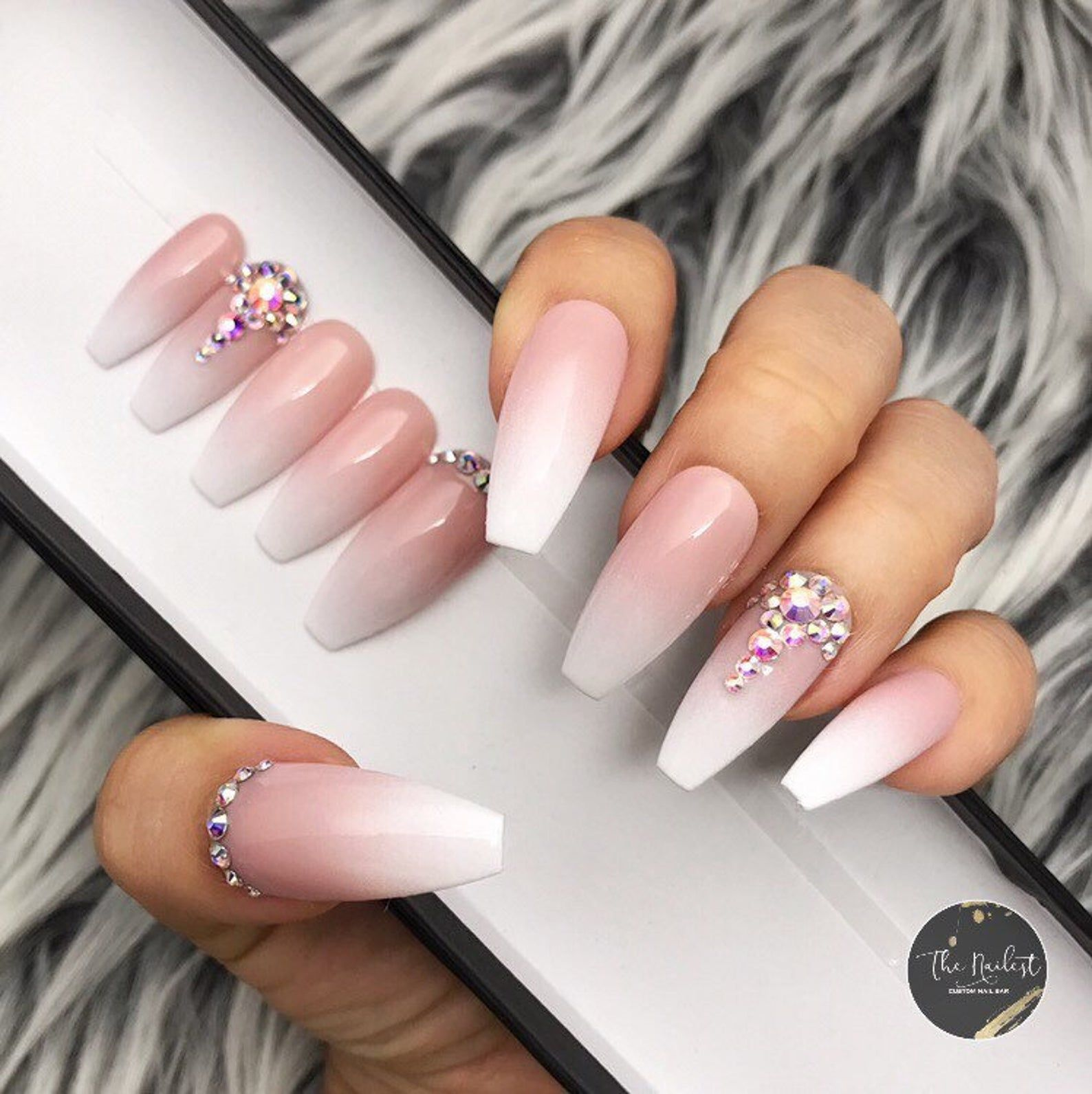 Triple B- Bling Baby Boomer Soph Ombre with Bling Crystals Press On Nails | Any Shape | Fake Nails | False Nails | Glue On Nails