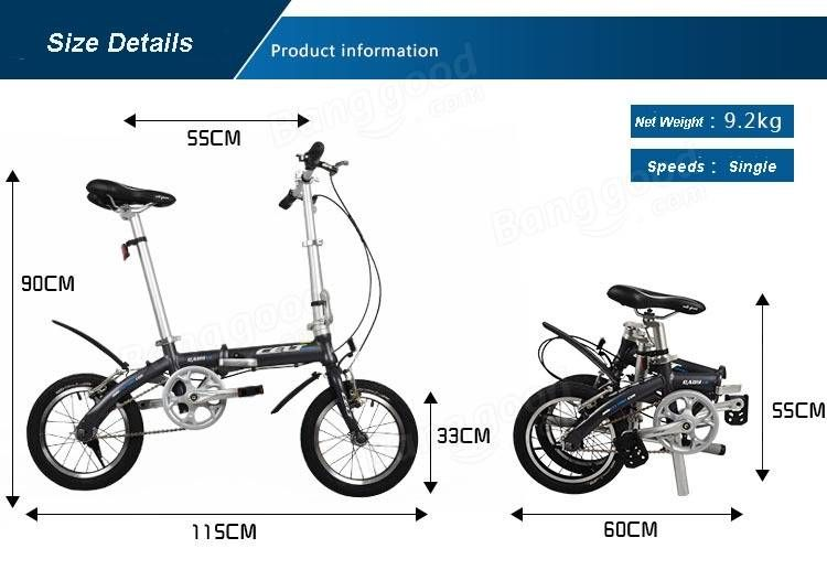 14 inch Folding Bike Bicycle Lightweight Mini Bike Aluminum Alloy ...