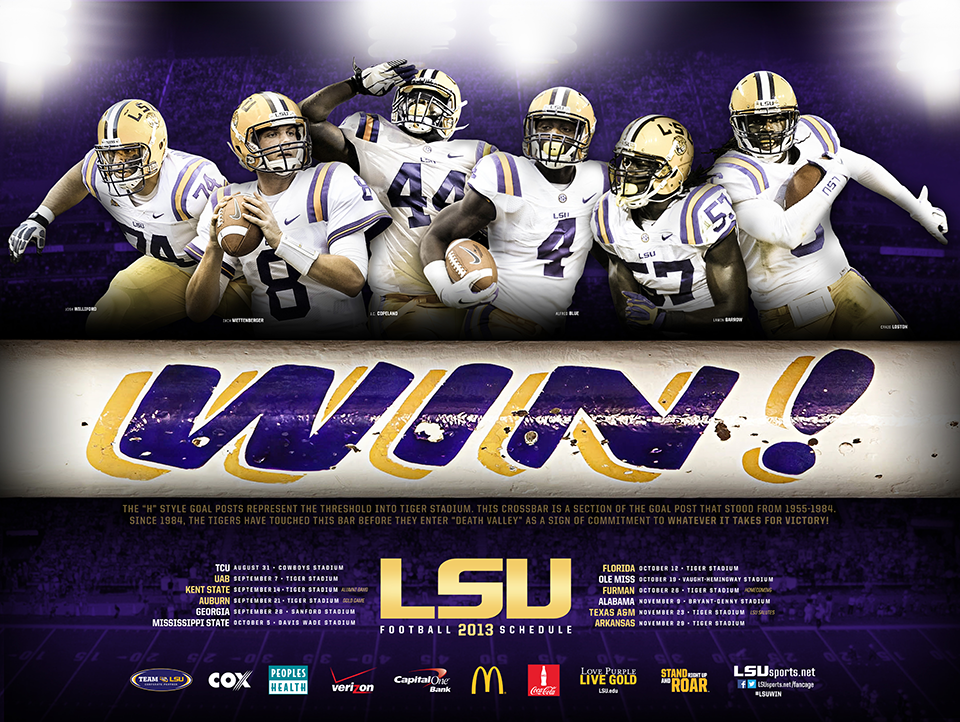 2013 Lsu Football Interactive Poster Lsu Football Lsu Tigers Football Lsu