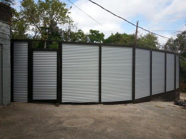Corrugated Metal Fence With Wood Trim Corrugated Metal Fence