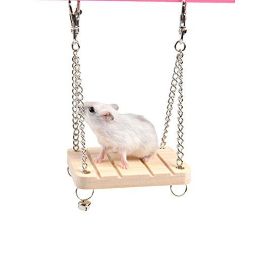 Small pet hamster and other pets wooden toys hanging chain swing swing boat toys hanging wood molars >>> You can find more details by visiting the image link.