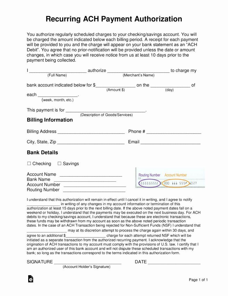 Ach Deposit Authorization Form Template Fresh Free Recurring Ach Payment Authorization Form Word Templates Payment Electronic Forms Ach debit authorization form template