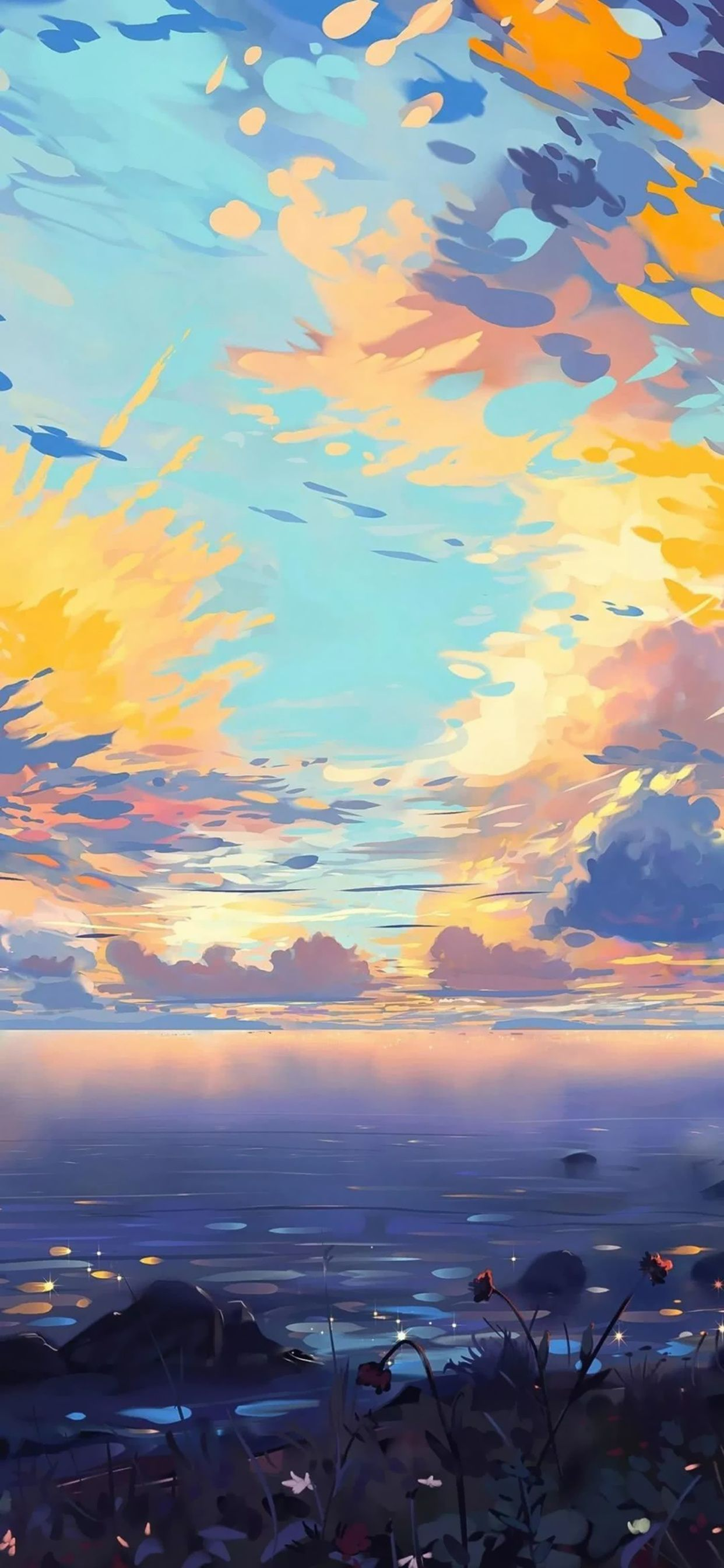 Colorful Shiny Sky Anime Scenery Wallpaper Scenery Wallpaper Landscape Wallpaper Cute colorful anime wallpapers
