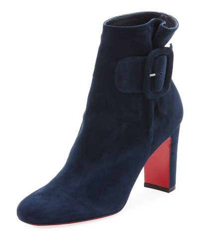 9bd75ba7c18 Tres Olivia Suede Buckled Red Sole Booties   Products   Shoe boots ...