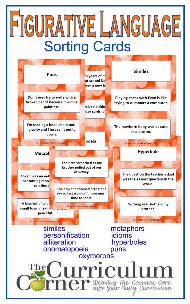 Figurative Language Cards Alliteration Simile And Figurative