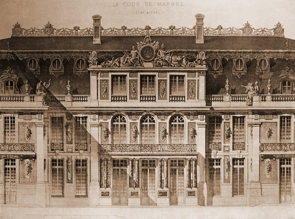 elevation of the cour de marbre versailles the ch teau de versailles pinterest versailles. Black Bedroom Furniture Sets. Home Design Ideas