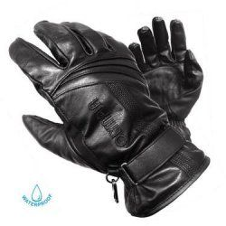 Olympia 180 Monsoon Men's Black Leather Motorcycle Gloves