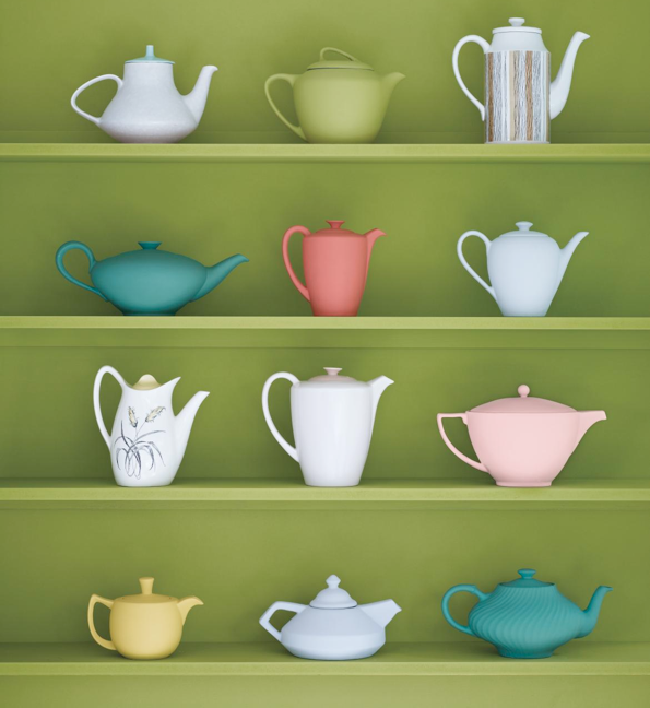 Teapots. I hate tea but I just love the look of teapots. All shapes colors and sizes.