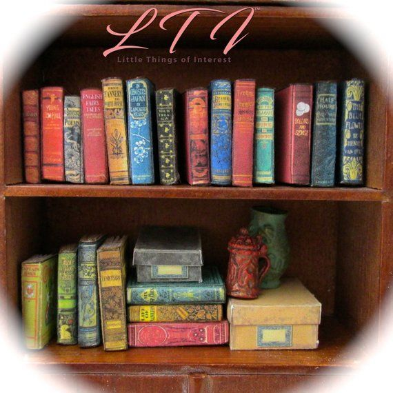 21 DUSTY OLD BOOKS Miniature Books Dollhouse 112 Scale 1 Scale Prop Fill a Bookshelf Faux Books Library