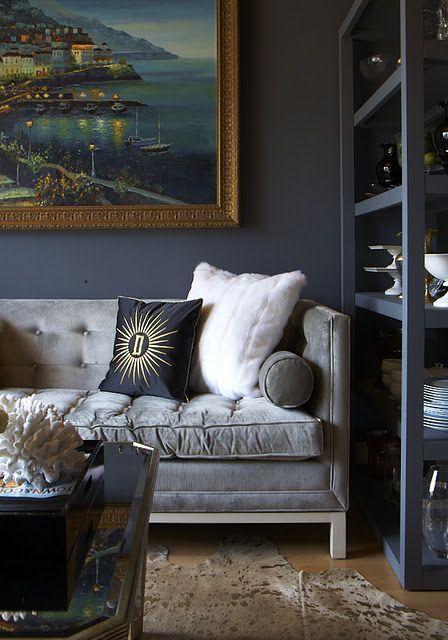 Eccentric Elegance Little Blue Deer Wordpress Blog Design Grey Sofa Living Room Dark Interiors Home Decor