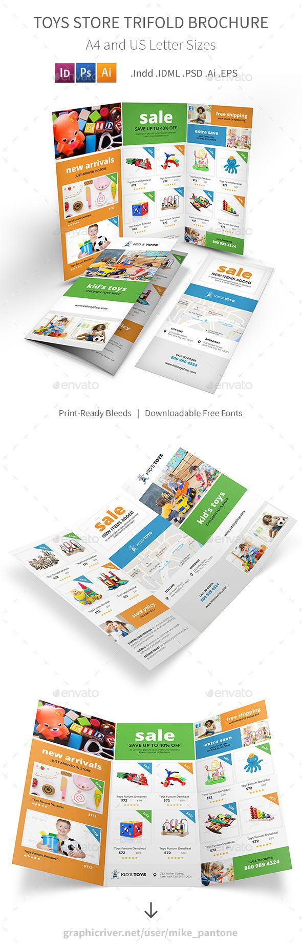 Toys Store Trifold Brochure   Brochures and Brochure template