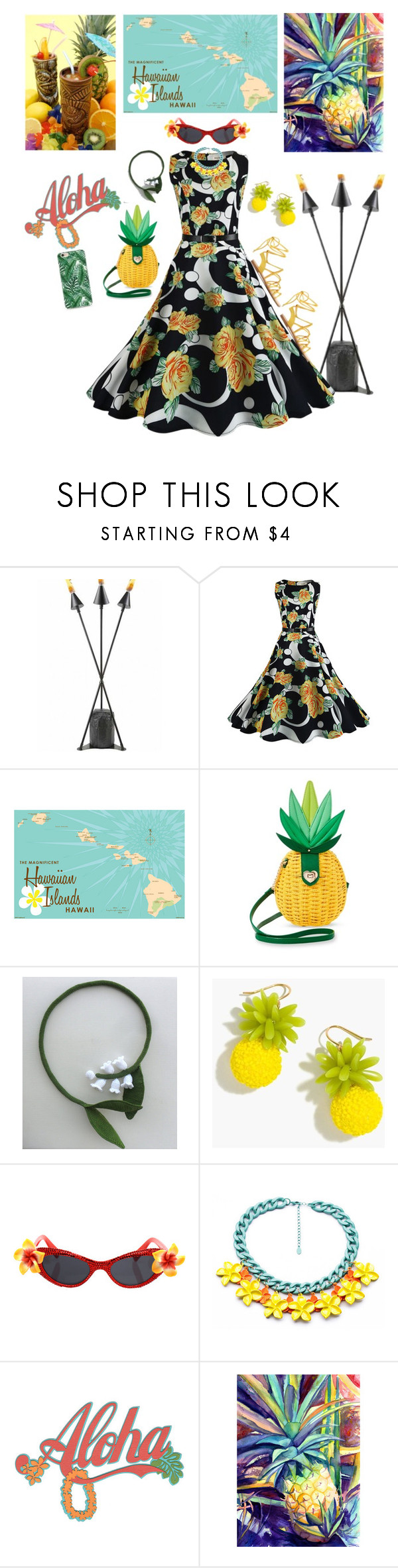 """Aloha"" by babygirltrice ❤ liked on Polyvore featuring GAS Jeans, WithChic, TIKI, Betsey Johnson and J.Crew"