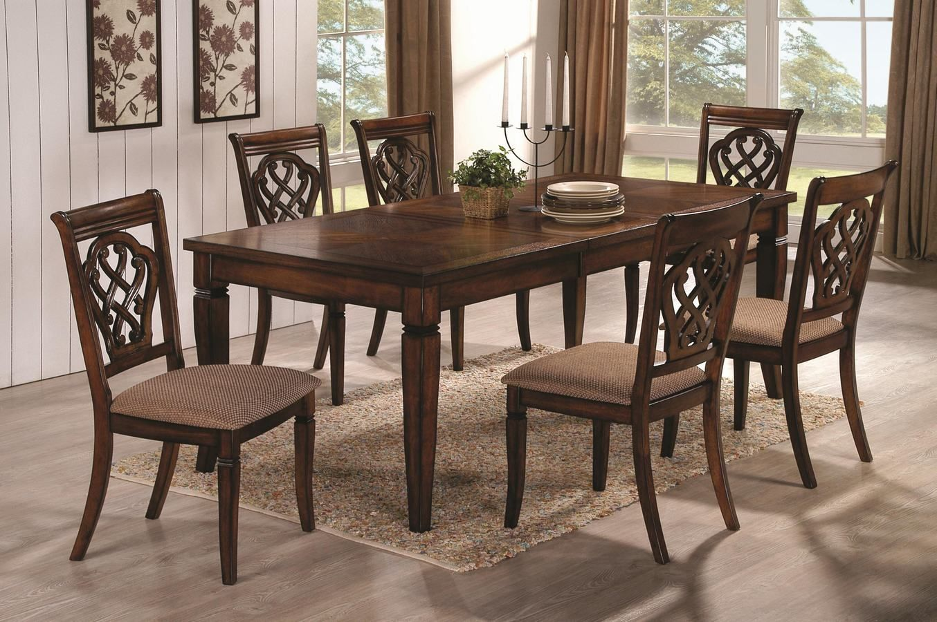 Coaster 103391 92 Dining Room Set By The Chicago Furniture Store Oak Dining Table Transitional Dining Tables Dining Room Sets