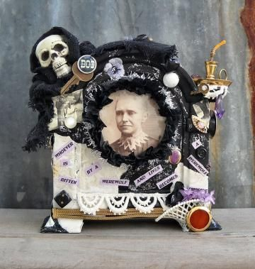 Halloween Art Assemblage Maleva's Prophecy Wolfman Mixed Media by momsantiquesnthings for $115.00
