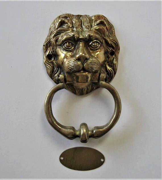 Vintage Lion S Head Front Door Knocker With Striker 4