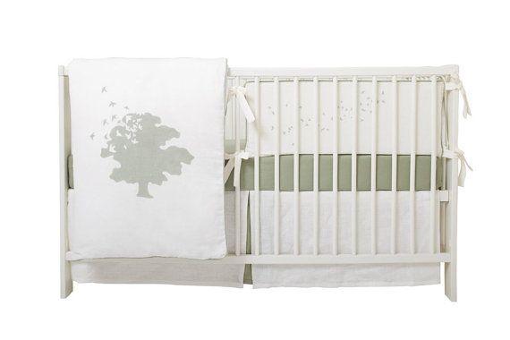 Crib Bedding Set Tree Of Life Sage Or Plum By Poidsplume On Etsy