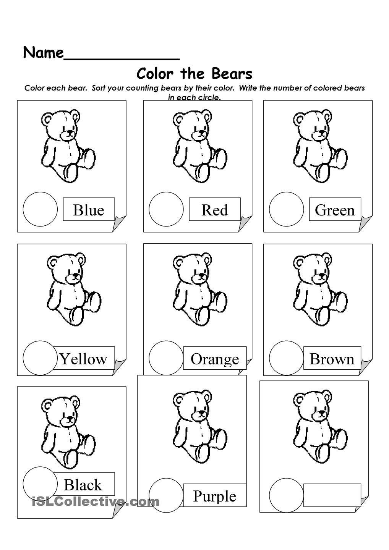 Sort Bears Worksheet Kindergarten Worksheets Printable Kindergarten Worksheets Kids Math Worksheets Free worksheet for preschool
