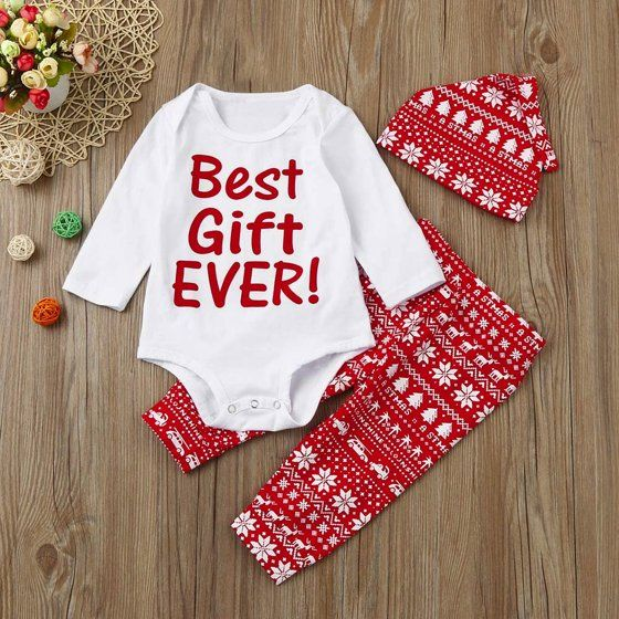 85ba1a19080 3Pcs Infant Baby Boy Girl Romper+Pants+Hat Christmas Outfits Set Clothes -  Walmart.com