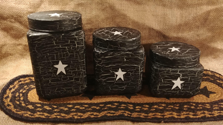 Primitive Crackle Tan /& Burgundy Stars Hand Painted Mason Jar Canister Set of 4