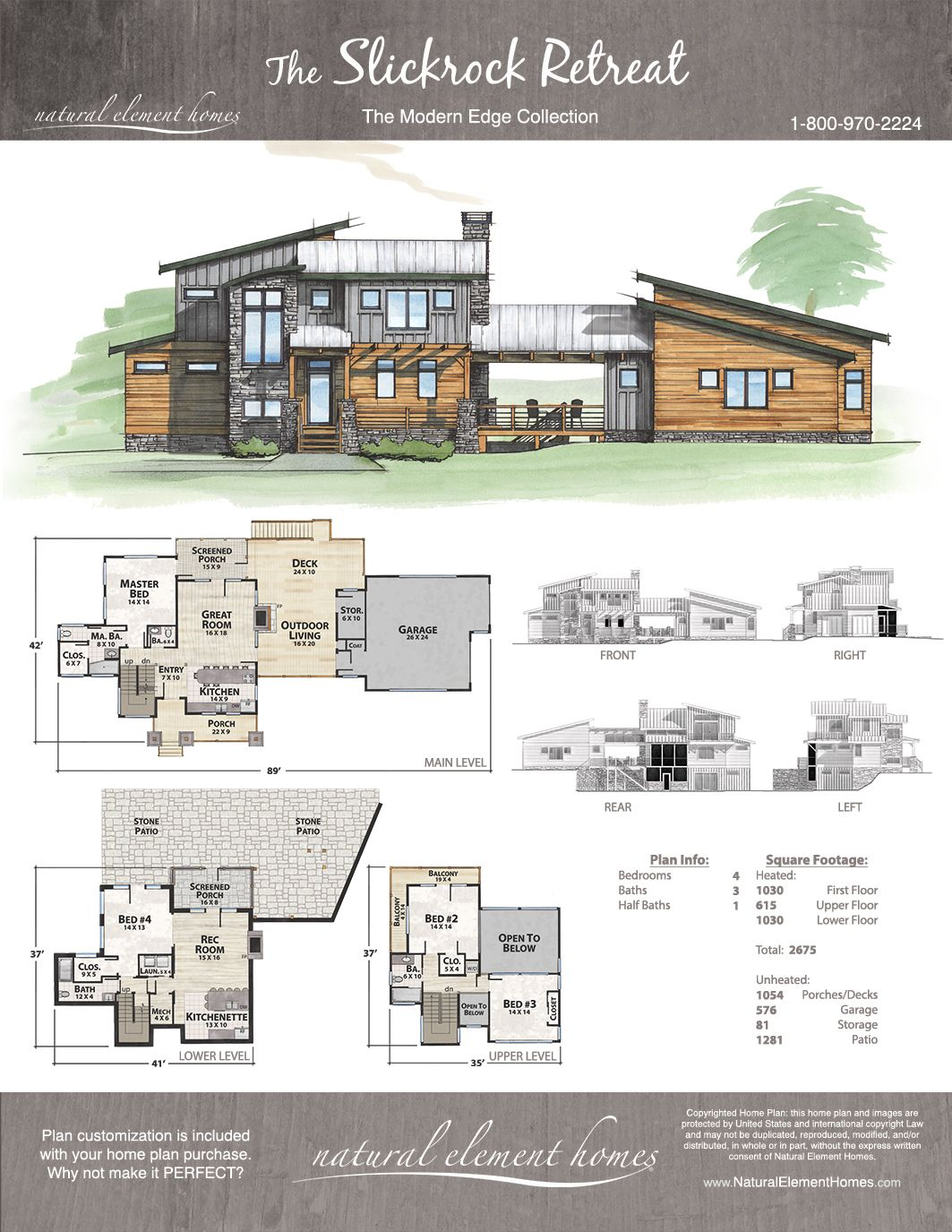 Slickrock Retreat Rustic House Plans Modern House Plans Sims House Plans