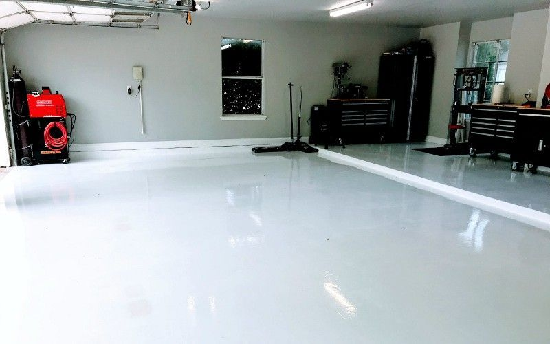 White Epoxy Garage Floor Coating After 6 Month Review
