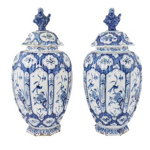 Pair Of Dutch Delft Blue And White Covered Vases Jan Gaal
