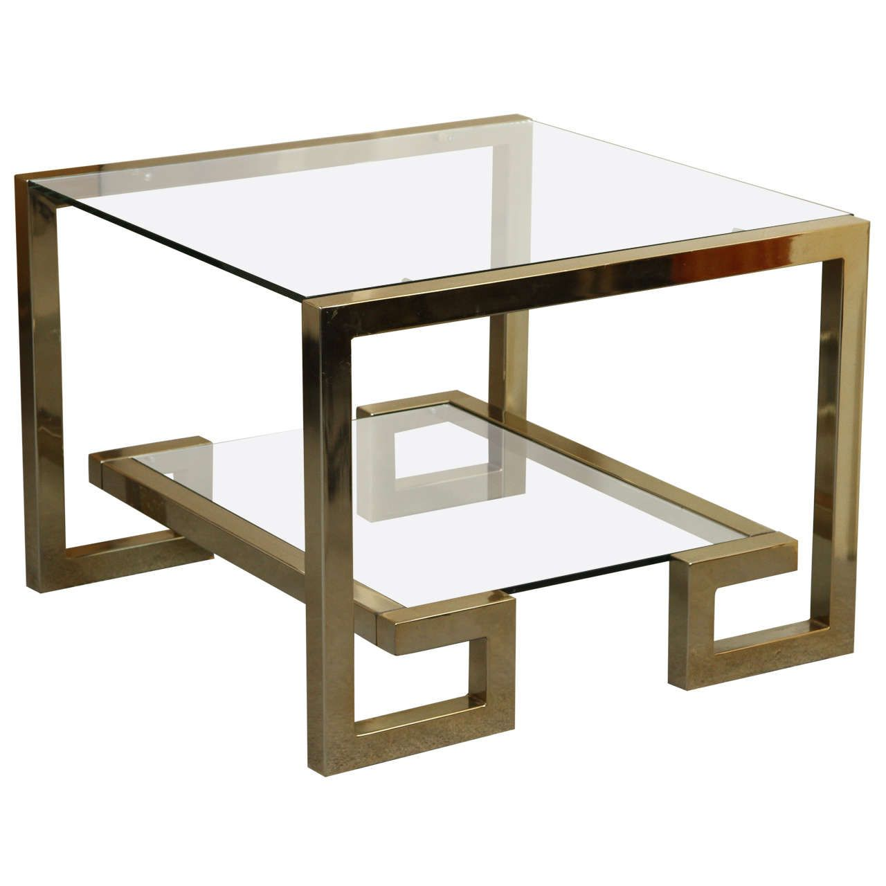 Stylish Greek Key Brass And Glass Coffee Table Metal Furniture