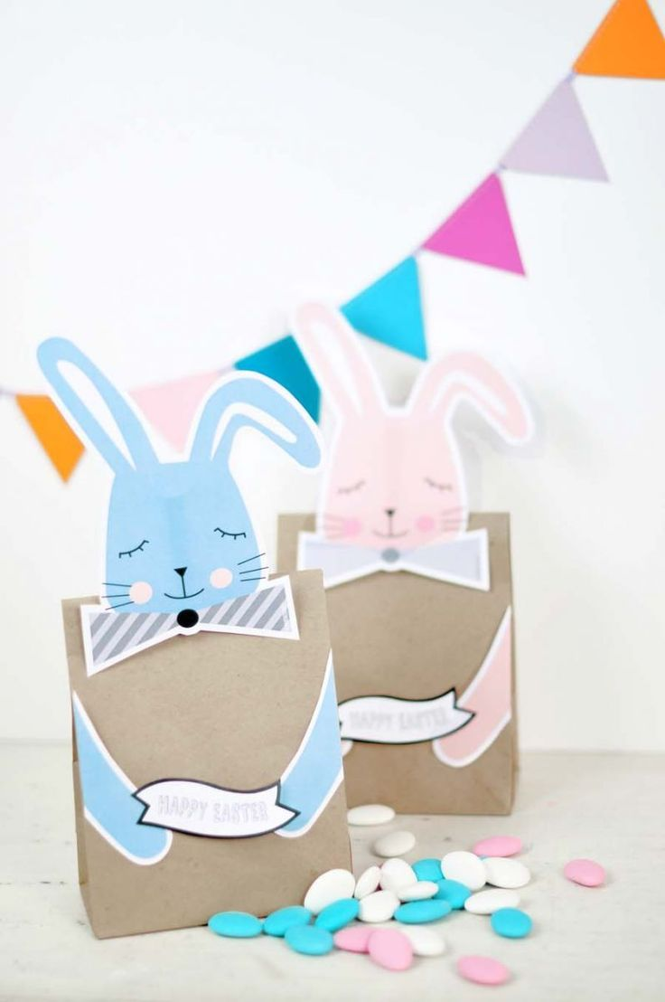 Easter Free Printable Bunny Treat Bags. Print out these cute bunnies to make cute and easy Easter treat and favor bags for the kids!
