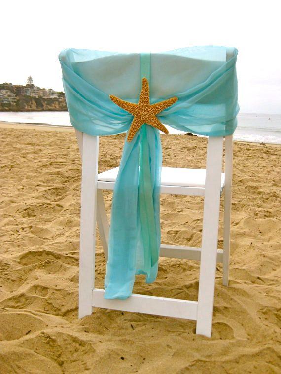Photo of Beach Wedding – Aqua Chiffon Chair Caps with Starfish or Sand Dollars – Set of 2 – Coastal Nautical Sweetheart Table Chair Decoration