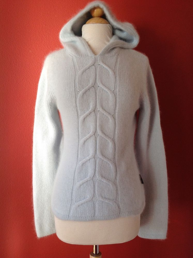 BURTON Women's Light Blue Angora Wool Fuzzy Pullover Hoodie ...