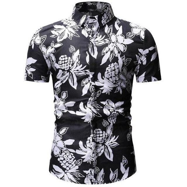 Men Plus-Size Floral Short Sleeve Casual Hawaiian Shirt