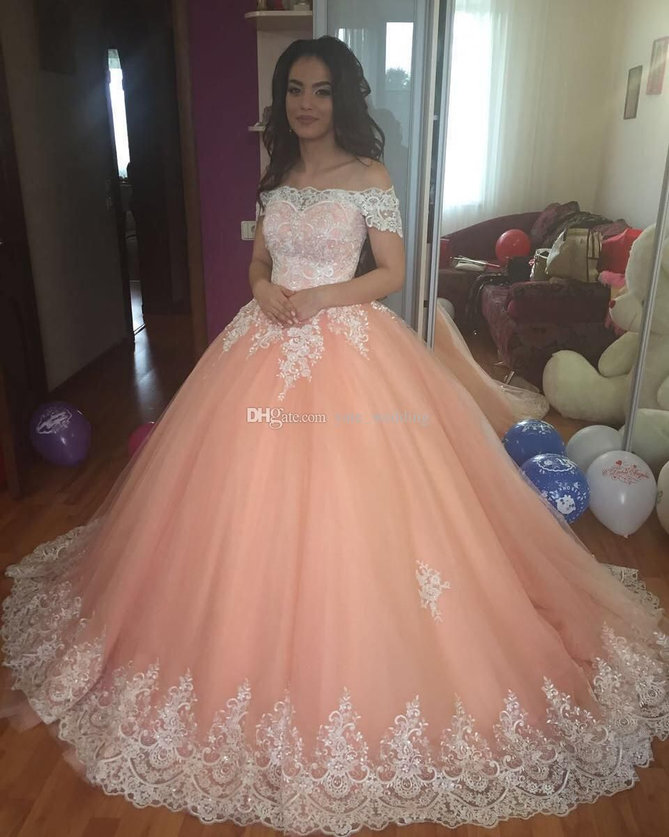 87fa637e04 Blush Pink Ball Gown Quinceanera Dresses Bateau Neck Short Sleeves Appliques  Tulle Plus Size Sweet 16 Dresses Saudi Arabic Prom Dresses