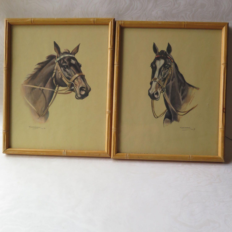 Koekkoek framed horse prints pair bamboo frames 1939 donald art koekkoek framed horse prints pair bamboo frames 1939 donald art company vintage western cowboy decor retro jeuxipadfo Gallery