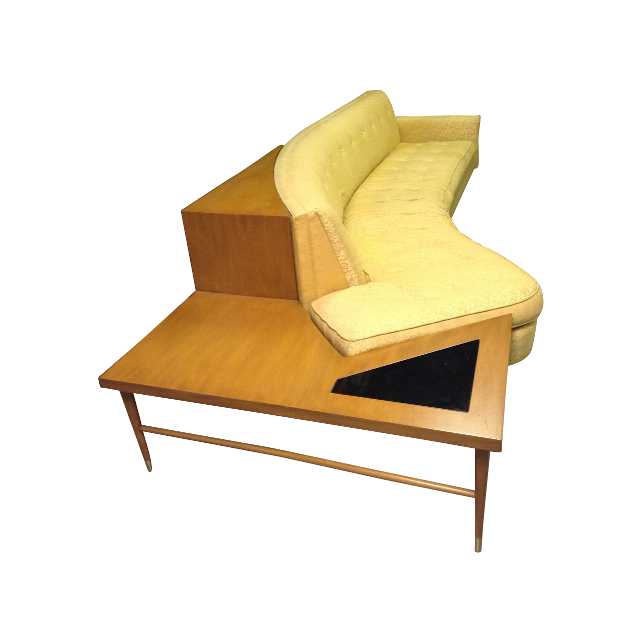 Mid century modern curved sofa with end table circa from ts