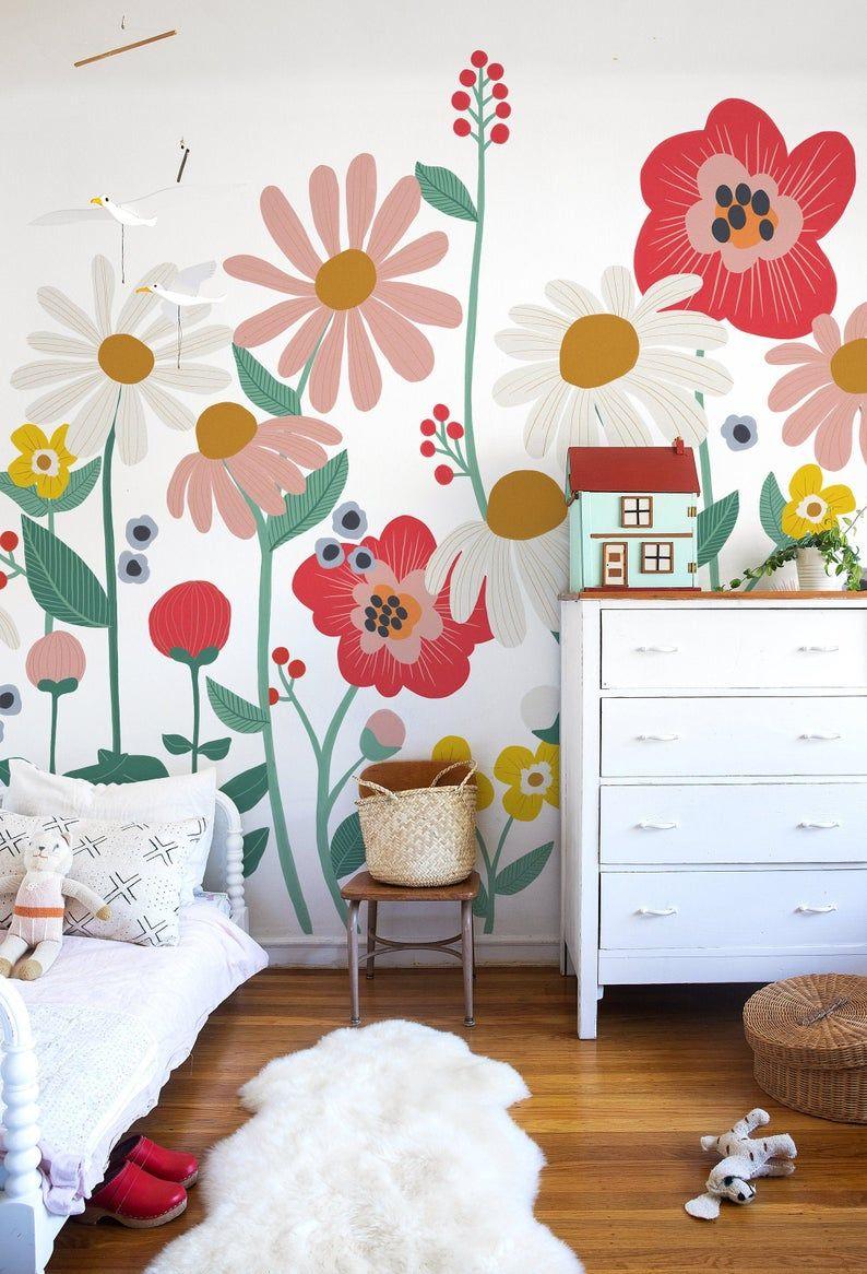 Flower Garden Removable Wallpaper Mural White Etsy Kids Room Murals Bedroom Murals Mural Wallpaper