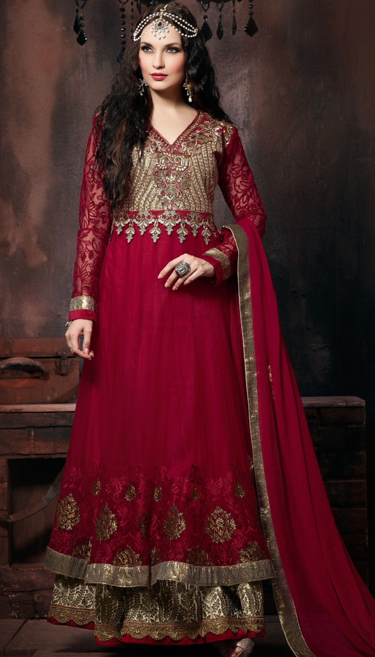 5ac3d52d6c Magenta Net Resham Sequence Embroidered Floor Length Anarkali Suit With  Chiffon Dupatta