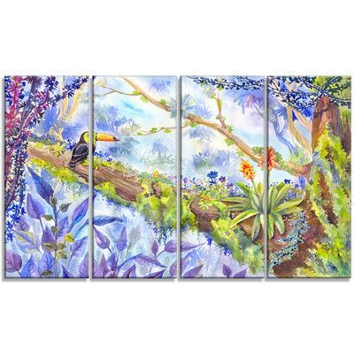 DesignArt 'Jungle with Bird Toucan on Tree' 4 Piece Graphic Art on Wrapped Canvas Set