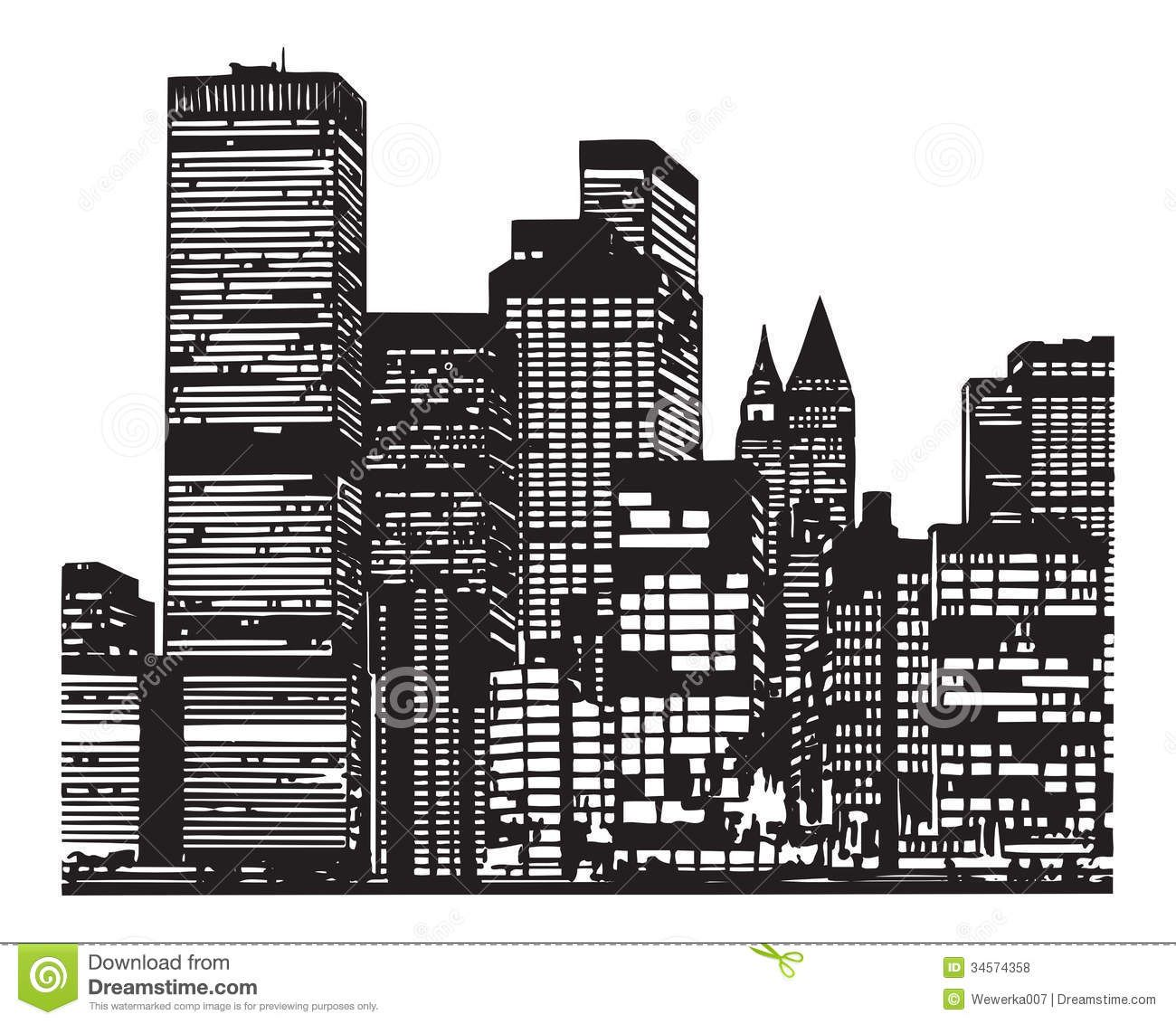 City Silhouette City Silhouette Cityscape Drawing City Buildings