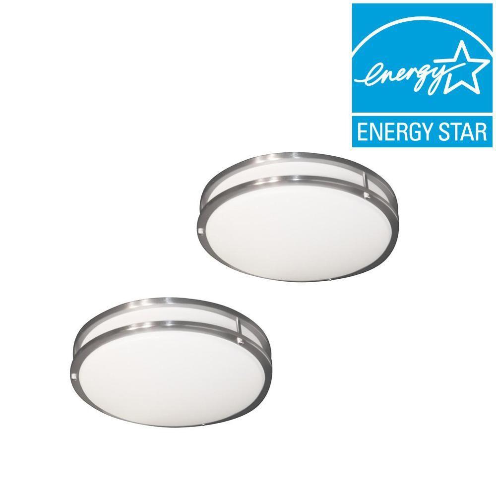 EnviroLite Low Profile LED 16 in. Brushed Nickel/White ...