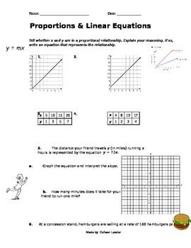 Linear Equations Proportions Practice Equations Linear Equations Proportional Relationships