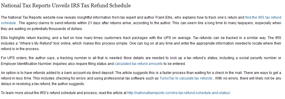 National Tax Reports Unveils Irs Tax Refund Schedule The National
