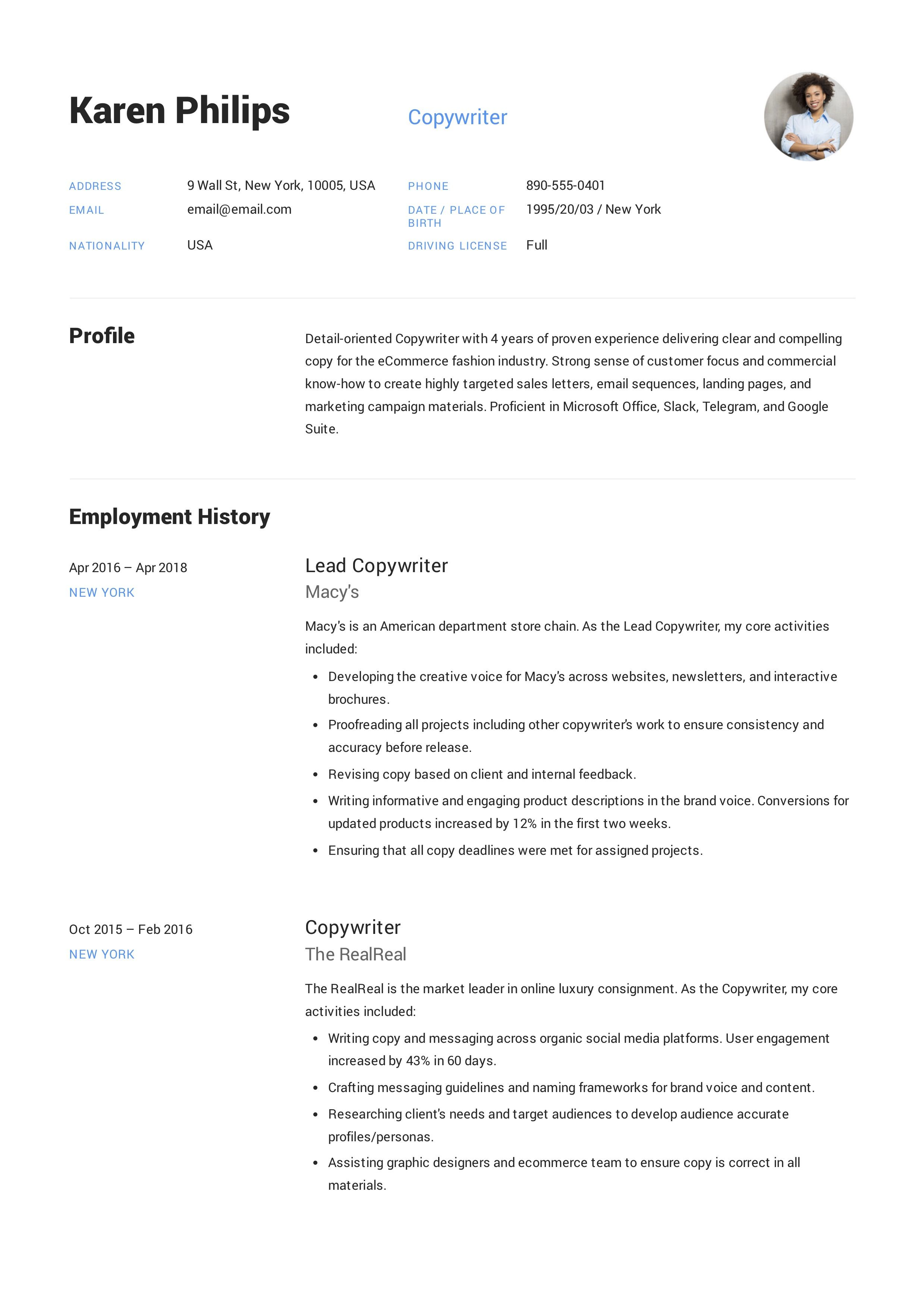 Copywriter Resume, template, design, tips, examples, free