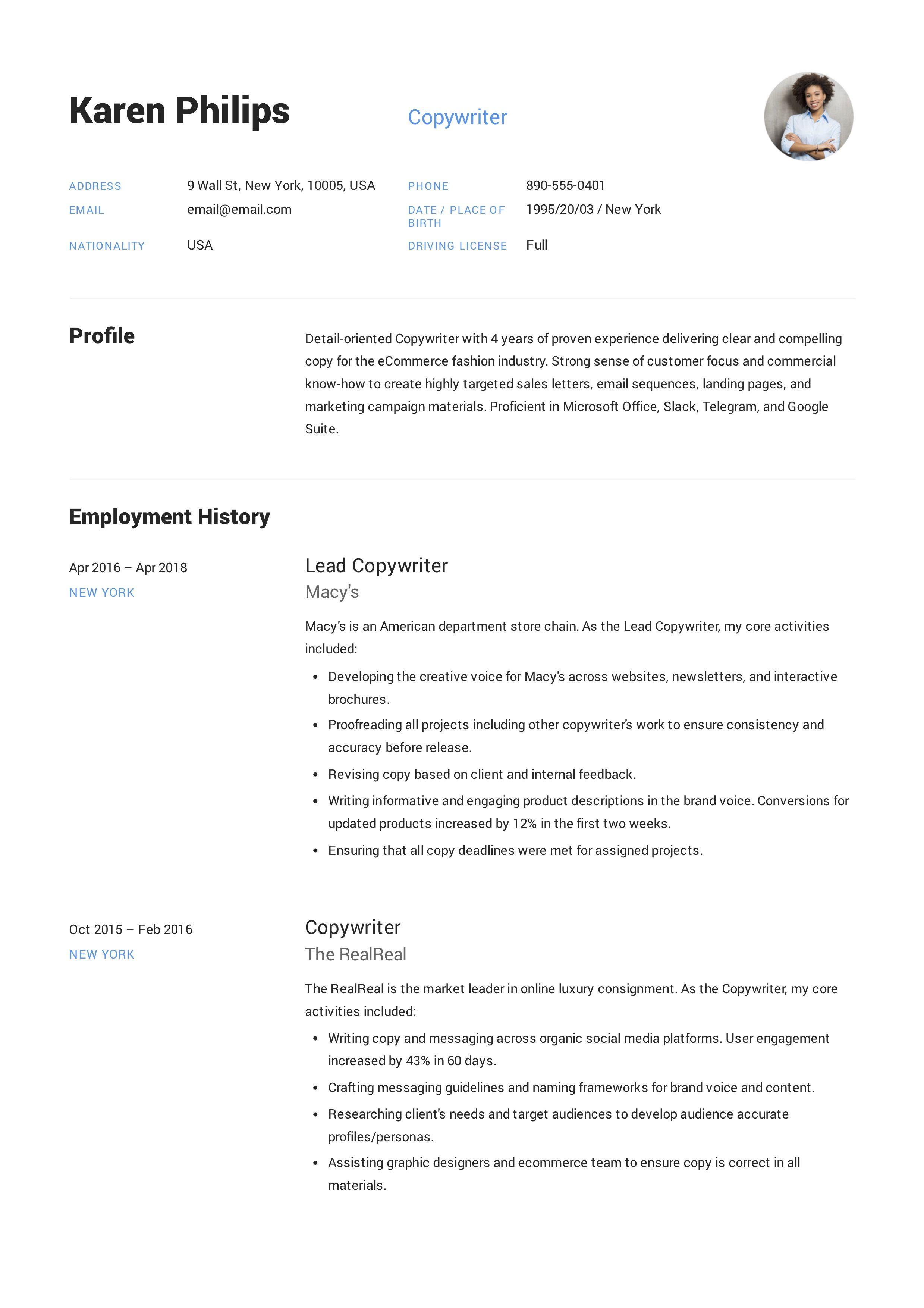 Copywriter resume template design tips examples free